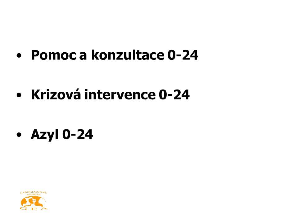 •Pomoc a konzultace 0-24 •Krizová intervence 0-24 •Azyl 0-24
