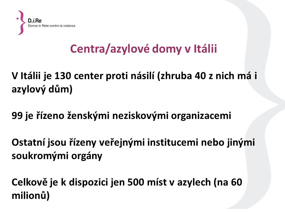 Centra/azylové domy v Itálii V Itálii je 130 center proti násilí (zhruba 40 z nich má i azylový dům) 99 je řízeno ženskými neziskovými organizacemi Ostatní jsou řízeny veřejnými institucemi nebo jinými soukromými orgány Celkově je k dispozici jen 500 míst v azylech (na 60 milionů)