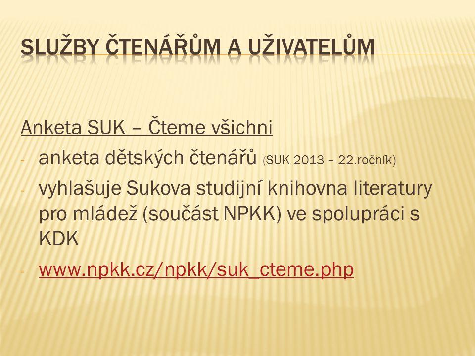 Anketa SUK – Čteme všichni - anketa dětských čtenářů ( SUK 2013 – 22.ročník) - vyhlašuje Sukova studijní knihovna literatury pro mládež (součást NPKK)