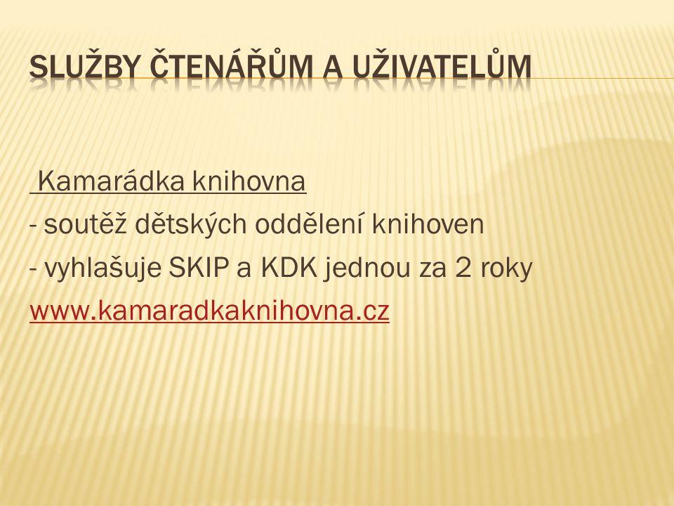 Kamarádka knihovna - soutěž dětských oddělení knihoven - vyhlašuje SKIP a KDK jednou za 2 roky www.kamaradkaknihovna.cz