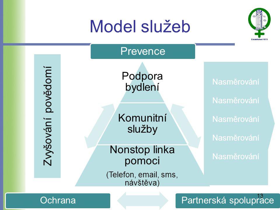 Prevence Partnerská spolupráceOchrana Model služeb Podpora bydlení Komunitní služby Nonstop linka pomoci (Telefon, email, sms, návštěva) Zvyšování povědomí Nasměrování 13
