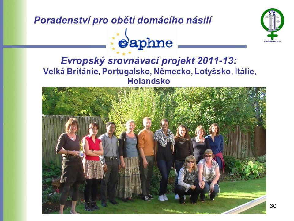 Evropský srovnávací projekt 2011-13: Velká Británie, Portugalsko, Německo, Lotyšsko, Itálie, Holandsko Poradenství pro oběti domácího násilí 30