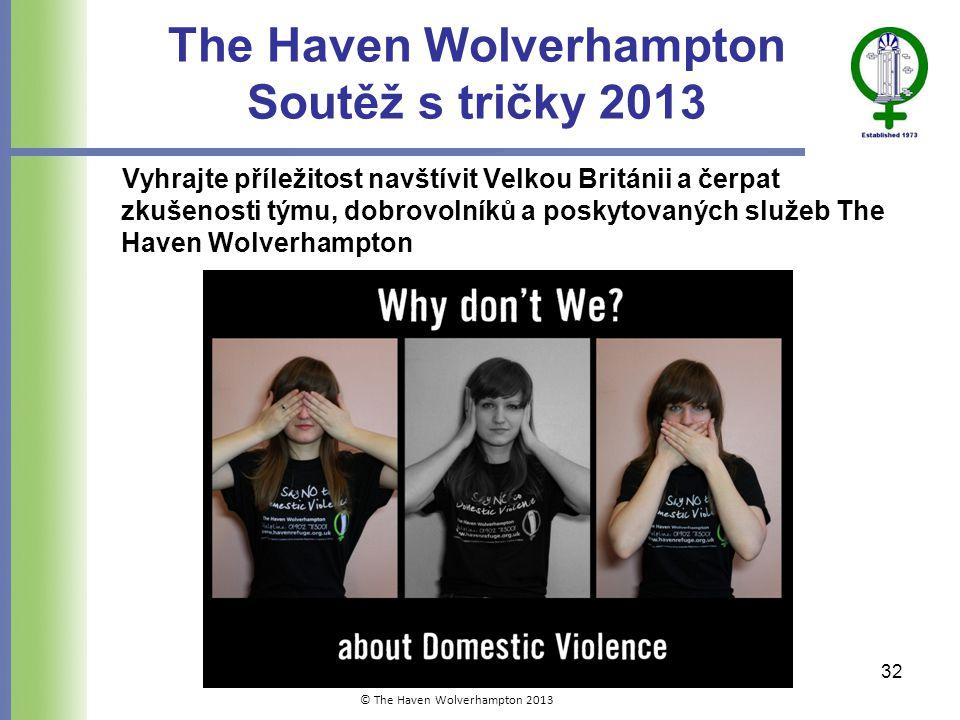 The Haven Wolverhampton Soutěž s tričky 2013 Vyhrajte příležitost navštívit Velkou Británii a čerpat zkušenosti týmu, dobrovolníků a poskytovaných služeb The Haven Wolverhampton 32 © The Haven Wolverhampton 2013