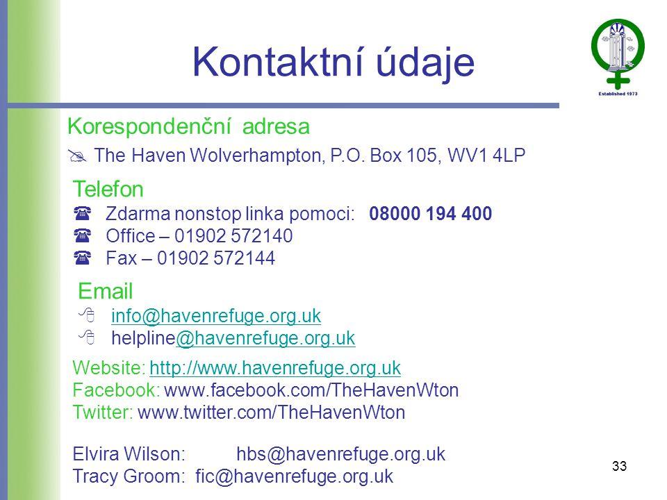Kontaktní údaje Telefon  Zdarma nonstop linka pomoci: 08000 194 400  Office – 01902 572140  Fax – 01902 572144 Korespondenční adresa  The Haven Wolverhampton, P.O.