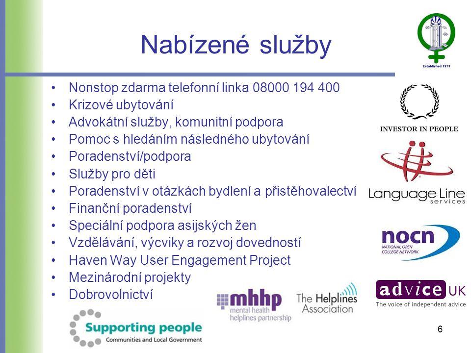 Nabízené služby •Nonstop zdarma telefonní linka 08000 194 400 •Krizové ubytování •Advokátní služby, komunitní podpora •Pomoc s hledáním následného ubytování •Poradenství/podpora •Služby pro děti •Poradenství v otázkách bydlení a přistěhovalectví •Finanční poradenství •Speciální podpora asijských žen •Vzdělávání, výcviky a rozvoj dovedností •Haven Way User Engagement Project •Mezinárodní projekty •Dobrovolnictví 6