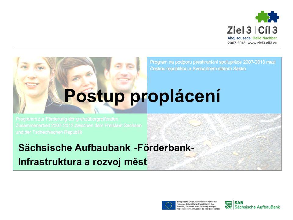 2.) Zpráva o průběhu projektu  Zpráva o průběhu projektu je podkladem k Žádosti o platbu jako dvoujazyčná dílčí/ závěrečná zpráva  Příslušný formulář najdete na internetové stránce: www.ziel3-cil3.eu/Formulare www.ziel3-cil3.eu/Formulare  Nutno vyplnit: Bod 1 -Údaje o projektu Bod 2 -Údaje o žadateli Bod 3 -Označení druhu zprávy Bod 4 -Dosažené kvantitativní výsledky Bod 5 -Propagační opatření Bod 6 -Zpráva o realizovaných opatřeních Bod 7 -Údaje o průběhu projektu přeshraničního charakteru Bod 8 -Zadávání zakázek třetím subjektům * Bod 9 -Financování Bod 10 -Prohlášení * vyplňují jen kontroloři podle článku 16 Postup proplácení 3.
