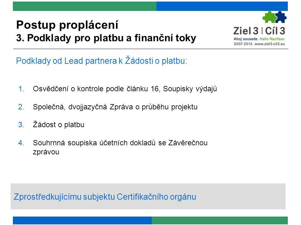 1.Osvědčení o kontrole podle článku 16, Soupisky výdajů 2.Společná, dvojjazyčná Zpráva o průběhu projektu 3.Žádost o platbu 4.Souhrnná soupiska účetních dokladů se Závěrečnou zprávou Podklady od Lead partnera k Žádosti o platbu: Zprostředkujícímu subjektu Certifikačního orgánu