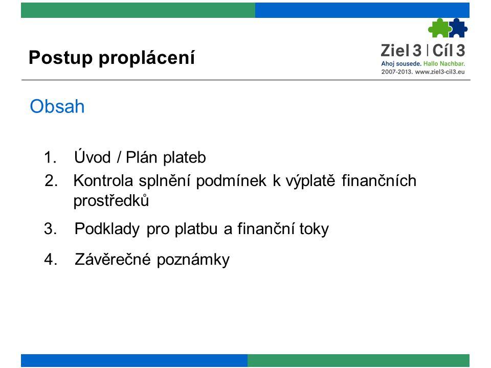 Obsah 2.Kontrola splnění podmínek k výplatě finančních prostředků 3.Podklady pro platbu a finanční toky 4.Závěrečné poznámky 1.Úvod / Plán plateb Postup proplácení