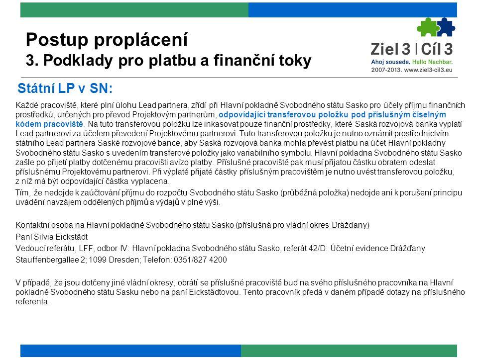 Každé pracoviště, které plní úlohu Lead partnera, zřídí při Hlavní pokladně Svobodného státu Sasko pro účely příjmu finančních prostředků, určených pro převod Projektovým partnerům, odpovídající transferovou položku pod příslušným číselným kódem pracoviště.