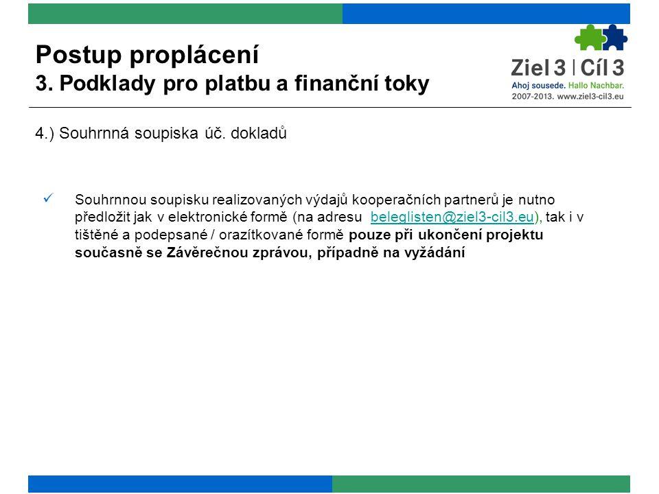  Souhrnnou soupisku realizovaných výdajů kooperačních partnerů je nutno předložit jak v elektronické formě (na adresu beleglisten@ziel3-cil3.eu), tak i v tištěné a podepsané / orazítkované formě pouze při ukončení projektu současně se Závěrečnou zprávou, případně na vyžádáníbeleglisten@ziel3-cil3.eu Postup proplácení 3.