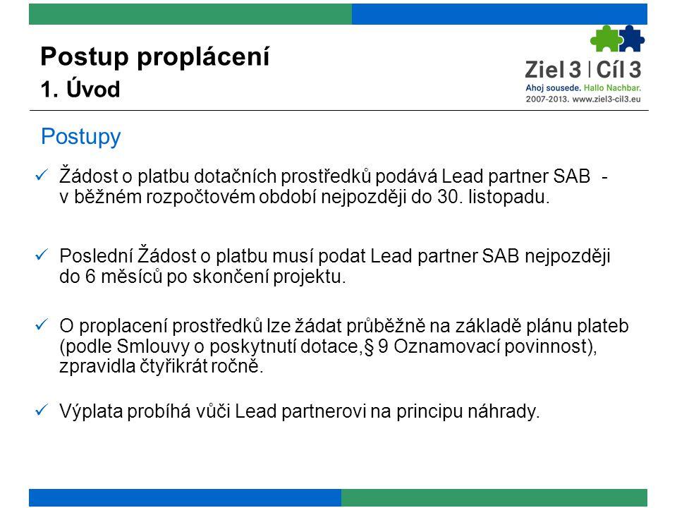 Postupy  Žádost o platbu dotačních prostředků podává Lead partner SAB - v běžném rozpočtovém období nejpozději do 30.