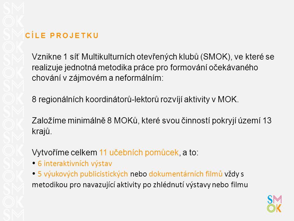CÍLE PROJETKU Vznikne 1 síť Multikulturních otevřených klubů (SMOK), ve které se realizuje jednotná metodika práce pro formování očekávaného chování v