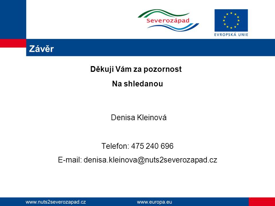 Závěr Děkuji Vám za pozornost Na shledanou Denisa Kleinová Telefon: 475 240 696 E-mail: denisa.kleinova@nuts2severozapad.cz