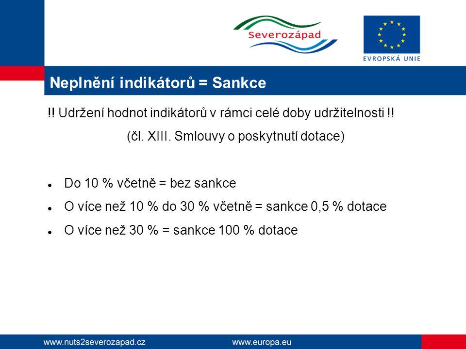 Neplnění indikátorů = Sankce !. Udržení hodnot indikátorů v rámci celé doby udržitelnosti !.