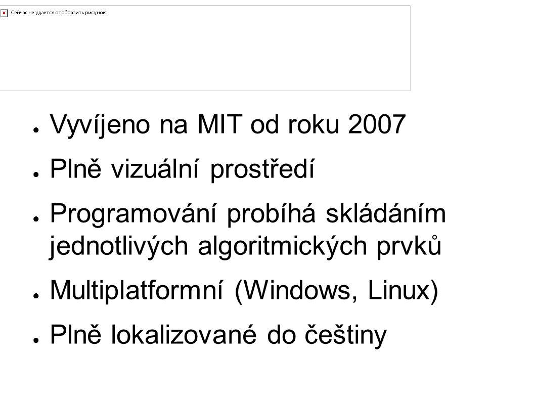 Úvod ● Vyvíjeno na MIT od roku 2007 ● Plně vizuální prostředí ● Programování probíhá skládáním jednotlivých algoritmických prvků ● Multiplatformní (Wi