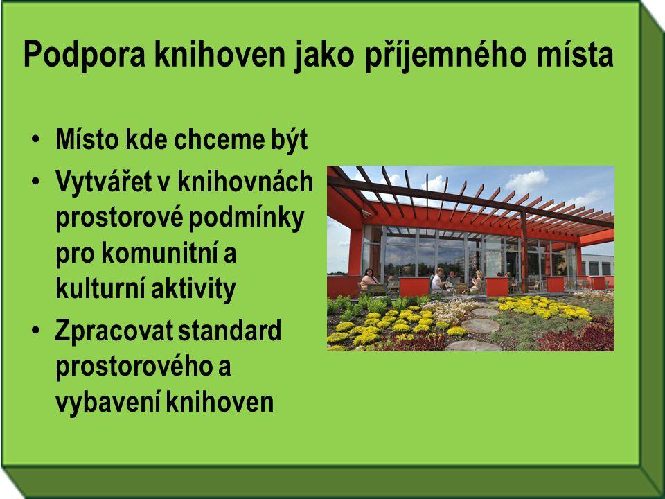 Podpora knihoven jako příjemného místa • Místo kde chceme být • Vytvářet v knihovnách prostorové podmínky pro komunitní a kulturní aktivity • Zpracova