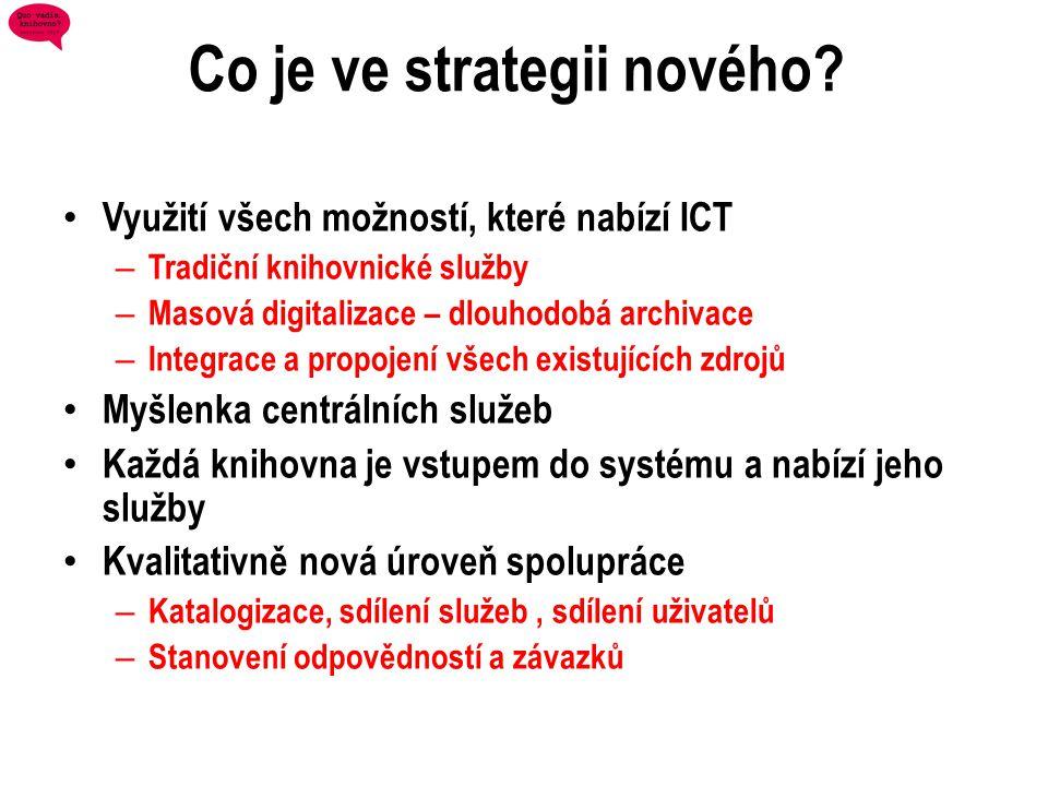 Co je ve strategii nového? • Využití všech možností, které nabízí ICT – Tradiční knihovnické služby – Masová digitalizace – dlouhodobá archivace – Int