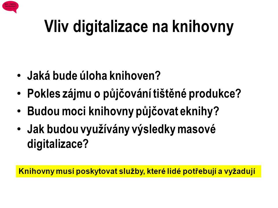 Vliv digitalizace na knihovny • Jaká bude úloha knihoven? • Pokles zájmu o půjčování tištěné produkce? • Budou moci knihovny půjčovat eknihy? • Jak bu
