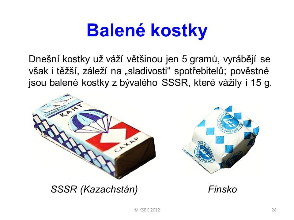 """Balené kostky Dnešní kostky už váží většinou jen 5 gramů, vyrábějí se však i těžší, záleží na """"sladivosti spotřebitelů; pověstné jsou balené kostky z bývalého SSSR, které vážily i 15 g."""