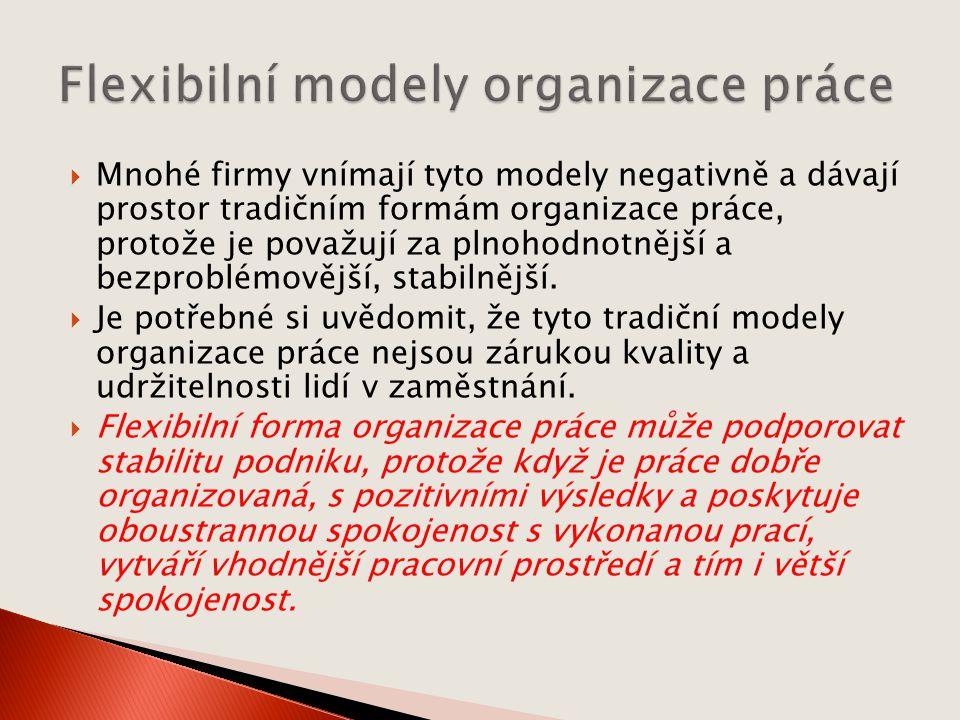  Mnohé firmy vnímají tyto modely negativně a dávají prostor tradičním formám organizace práce, protože je považují za plnohodnotnější a bezproblémovější, stabilnější.