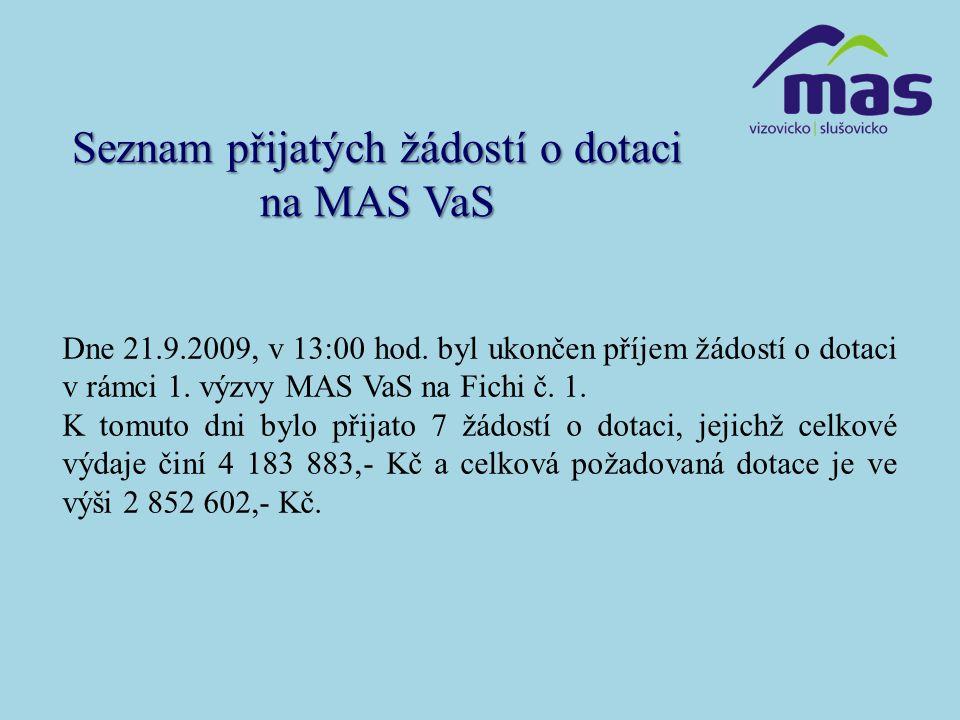 Seznam přijatých žádostí o dotaci na MAS VaS Dne 21.9.2009, v 13:00 hod.
