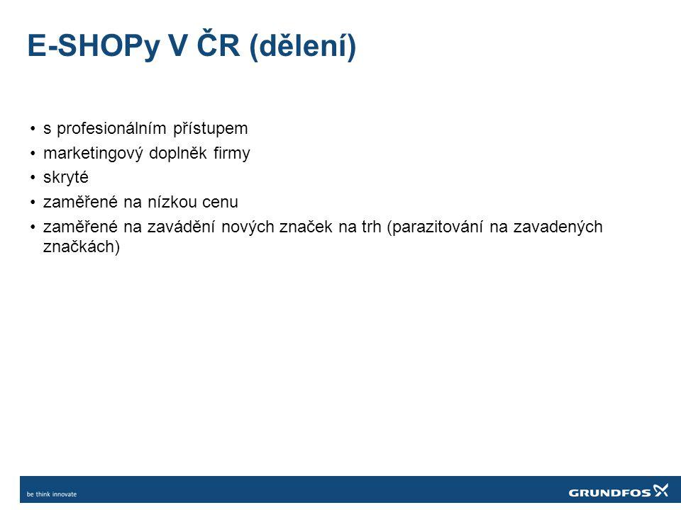 E-SHOPy V ČR (dělení) •s profesionálním přístupem •marketingový doplněk firmy •skryté •zaměřené na nízkou cenu •zaměřené na zavádění nových značek na