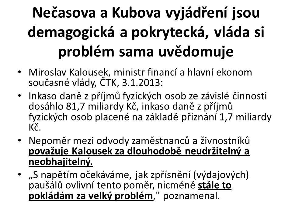 Nečasova a Kubova vyjádření jsou demagogická a pokrytecká, vláda si problém sama uvědomuje • Miroslav Kalousek, ministr financí a hlavní ekonom současné vlády, ČTK, 3.1.2013: • Inkaso daně z příjmů fyzických osob ze závislé činnosti dosáhlo 81,7 miliardy Kč, inkaso daně z příjmů fyzických osob placené na základě přiznání 1,7 miliardy Kč.