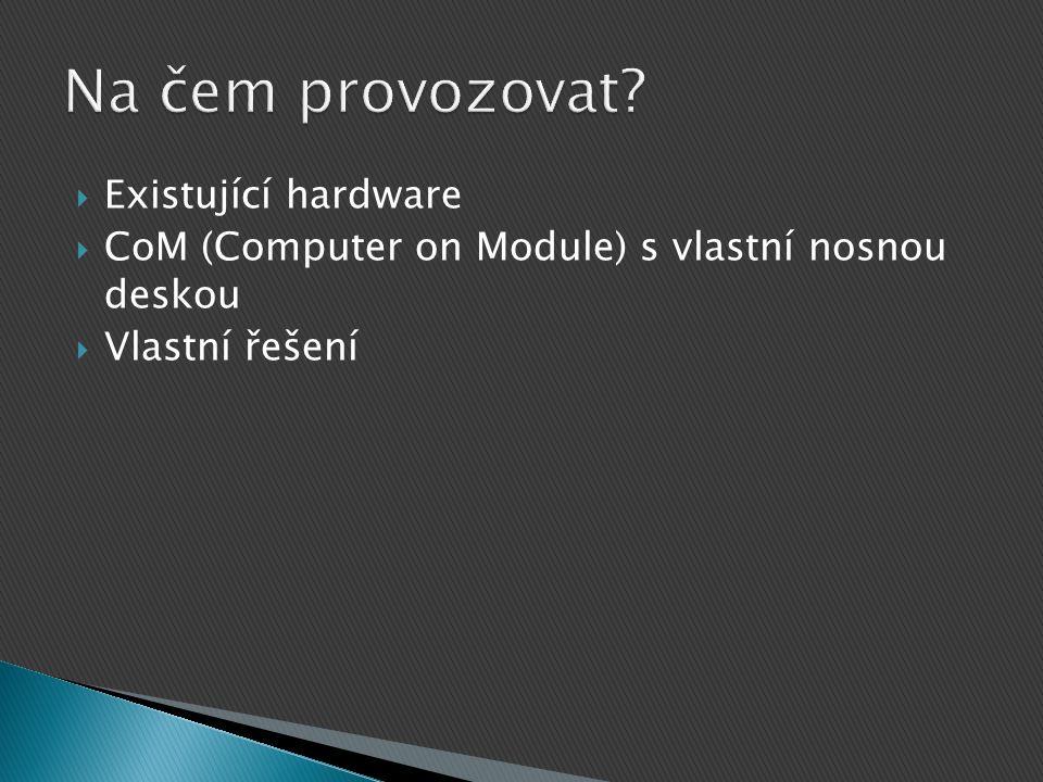  Existující hardware  CoM (Computer on Module) s vlastní nosnou deskou  Vlastní řešení
