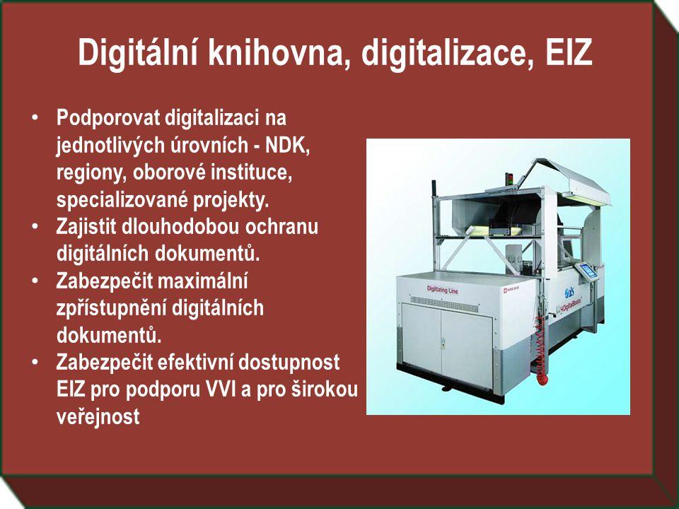 Digitální knihovna, digitalizace, EIZ • Podporovat digitalizaci na jednotlivých úrovních - NDK, regiony, oborové instituce, specializované projekty.