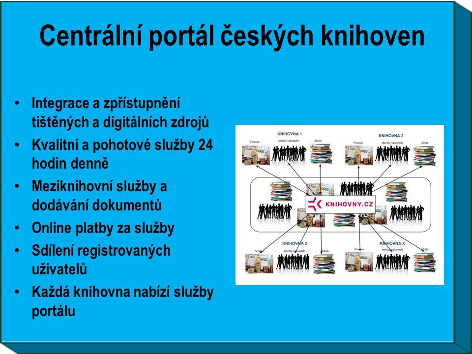 Centrální portál českých knihoven • Integrace a zpřístupnění tištěných a digitálních zdrojů • Kvalitní a pohotové služby 24 hodin denně • Meziknihovní služby a dodávání dokumentů • Online platby za služby • Sdílení registrovaných uživatelů • Každá knihovna nabízí služby portálu
