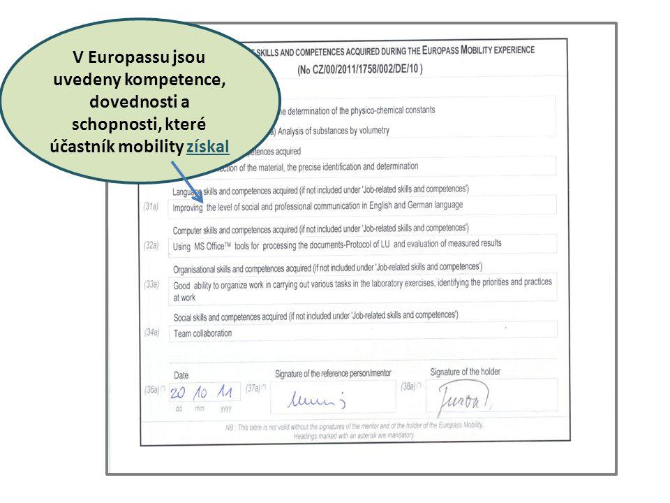 V Europassu jsou uvedeny kompetence, dovednosti a schopnosti, které účastník mobility získal