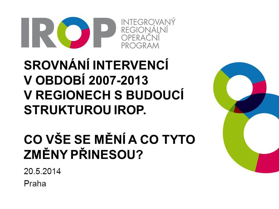 KDE HLEDAT DALŠÍ INFORMACE Web přípravy ČR na nové programové období http://www.strukturalni-fondy.cz/cs/Fondy-EU/Kohezni-politika-EU Web programu IROP + návrh programového dokumentu IROP http://www.strukturalni-fondy.cz/irop Novinky politiky soudržnosti 2014-2020 na stránkách DG Regia http://ec.europa.eu/regional_policy/what/future/index_cs.cfm
