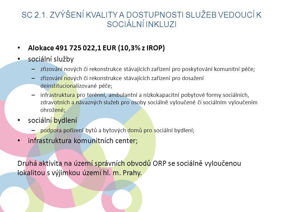 • Alokace 491 725 022,1 EUR (10,3% z IROP) • sociální služby – zřizování nových či rekonstrukce stávajících zařízení pro poskytování komunitní péče; –