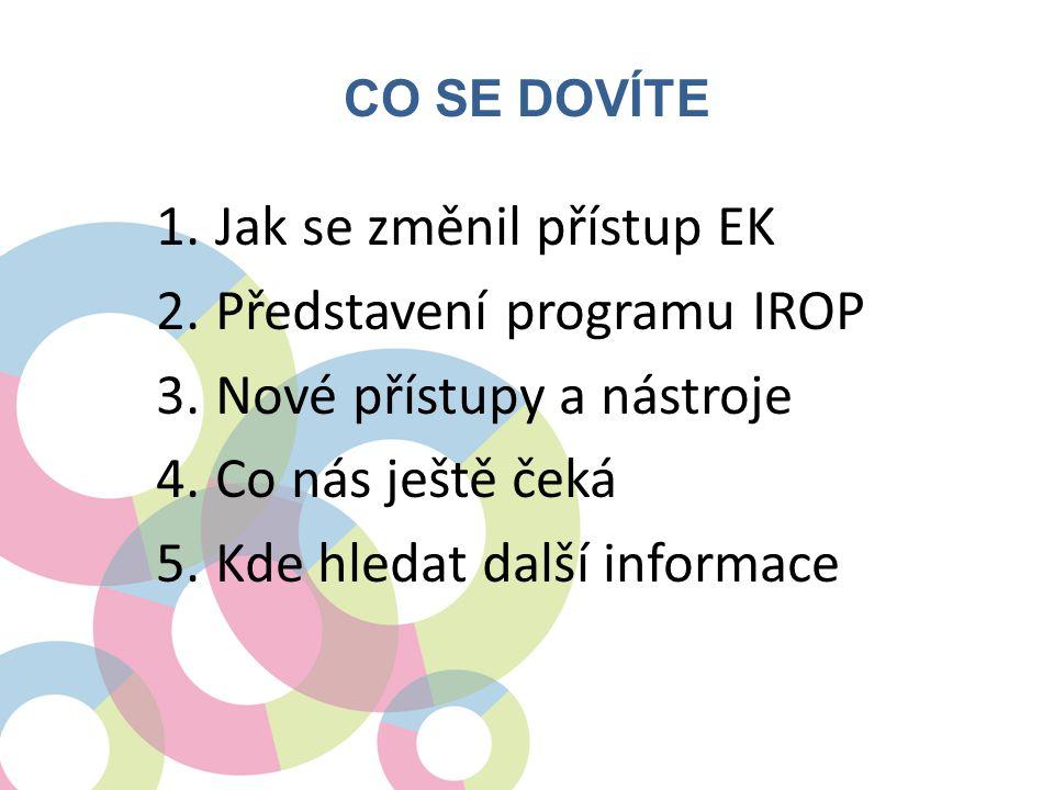 CO SE DOVÍTE 1.Jak se změnil přístup EK 2.Představení programu IROP 3.Nové přístupy a nástroje 4.Co nás ještě čeká 5.Kde hledat další informace