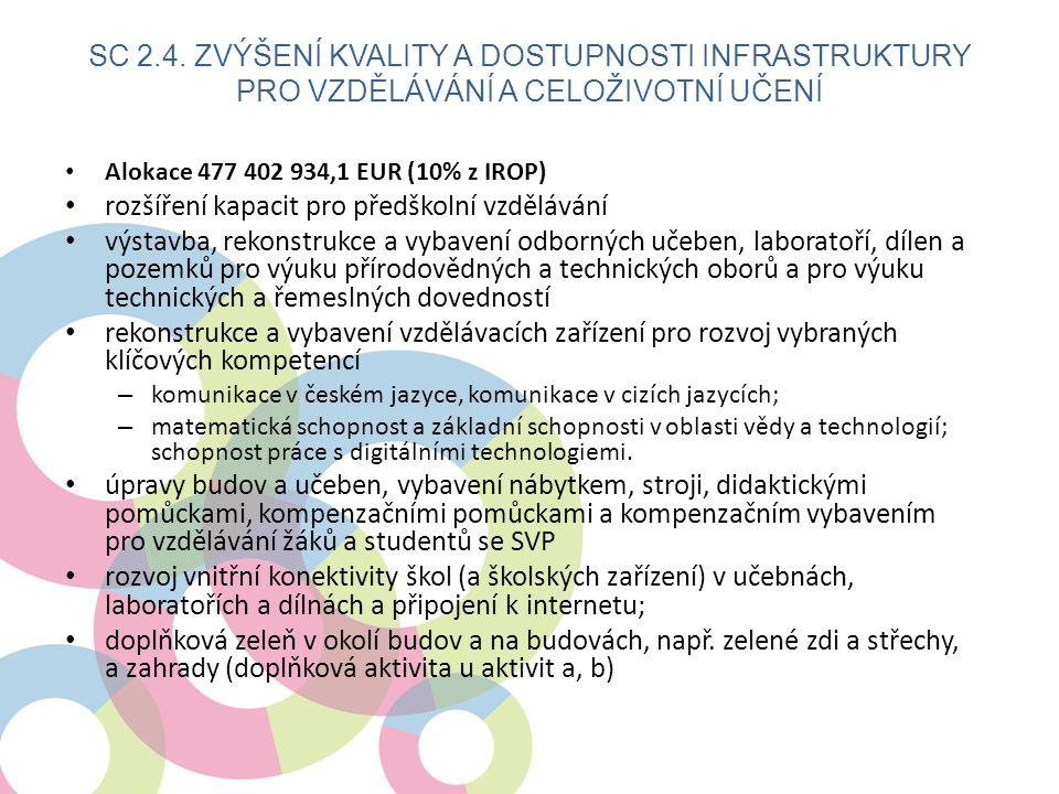 • Alokace 477 402 934,1 EUR (10% z IROP) • rozšíření kapacit pro předškolní vzdělávání • výstavba, rekonstrukce a vybavení odborných učeben, laboratoří, dílen a pozemků pro výuku přírodovědných a technických oborů a pro výuku technických a řemeslných dovedností • rekonstrukce a vybavení vzdělávacích zařízení pro rozvoj vybraných klíčových kompetencí – komunikace v českém jazyce, komunikace v cizích jazycích; – matematická schopnost a základní schopnosti v oblasti vědy a technologií; schopnost práce s digitálními technologiemi.