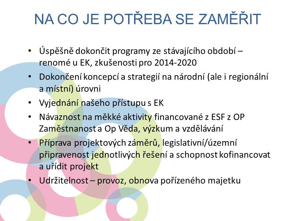 • Úspěšně dokončit programy ze stávajícího období – renomé u EK, zkušenosti pro 2014-2020 • Dokončení koncepcí a strategií na národní (ale i regionáln