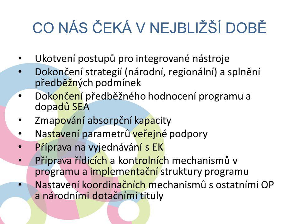 CO NÁS ČEKÁ V NEJBLIŽŠÍ DOBĚ • Ukotvení postupů pro integrované nástroje • Dokončení strategií (národní, regionální) a splnění předběžných podmínek •