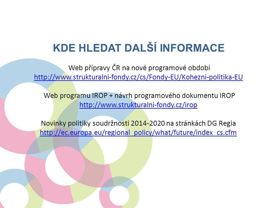 KDE HLEDAT DALŠÍ INFORMACE Web přípravy ČR na nové programové období http://www.strukturalni-fondy.cz/cs/Fondy-EU/Kohezni-politika-EU Web programu IRO