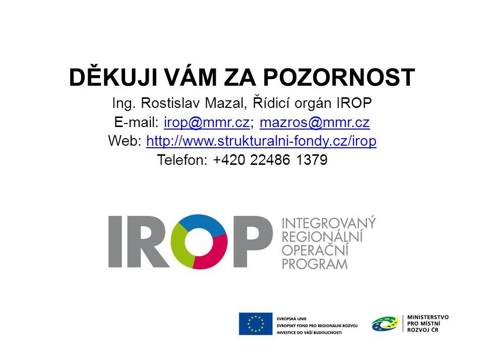 DĚKUJI VÁM ZA POZORNOST Ing. Rostislav Mazal, Řídicí orgán IROP E-mail: irop@mmr.cz; mazros@mmr.cz Web: http://www.strukturalni-fondy.cz/irop Telefon: