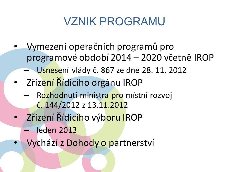VZNIK PROGRAMU • Vymezení operačních programů pro programové období 2014 – 2020 včetně IROP – Usnesení vlády č. 867 ze dne 28. 11. 2012 • Zřízení Řídi