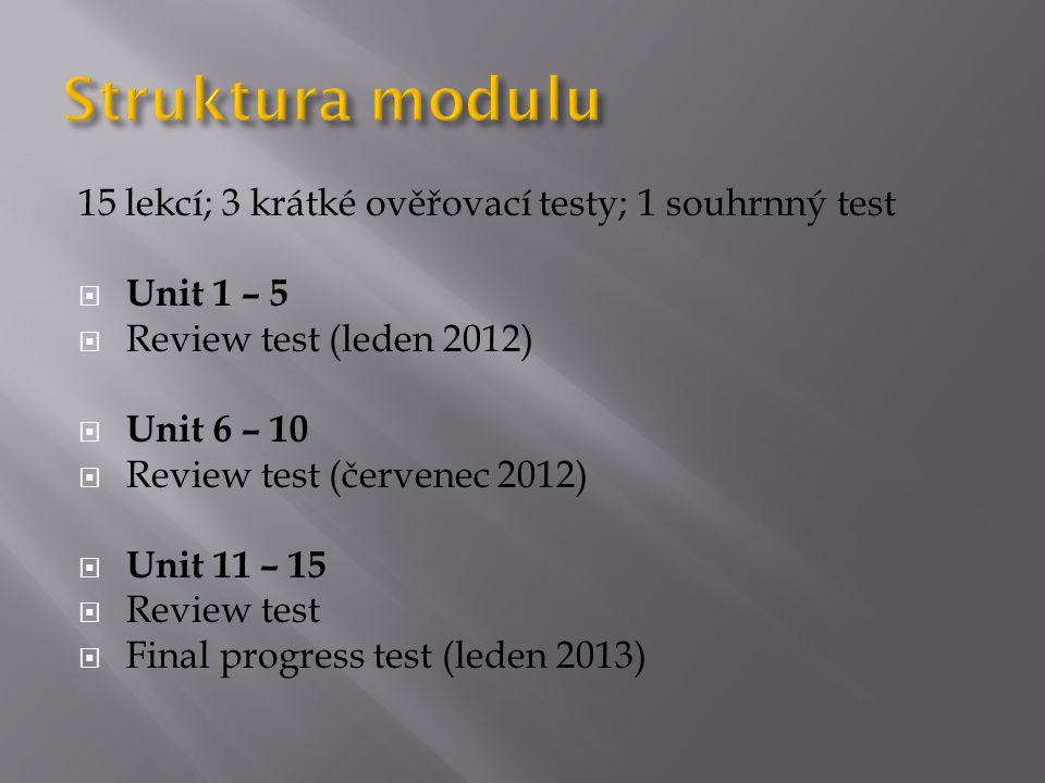 15 lekcí; 3 krátké ověřovací testy; 1 souhrnný test  Unit 1 – 5  Review test (leden 2012)  Unit 6 – 10  Review test (červenec 2012)  Unit 11 – 15