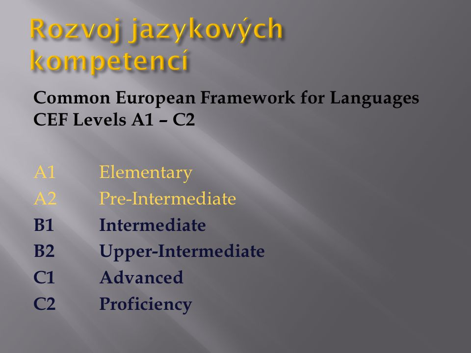 Common European Framework for Languages CEF Levels A1 – C2 A1Elementary A2Pre-Intermediate B1 Intermediate B2 Upper-Intermediate C1 Advanced C2 Proficiency