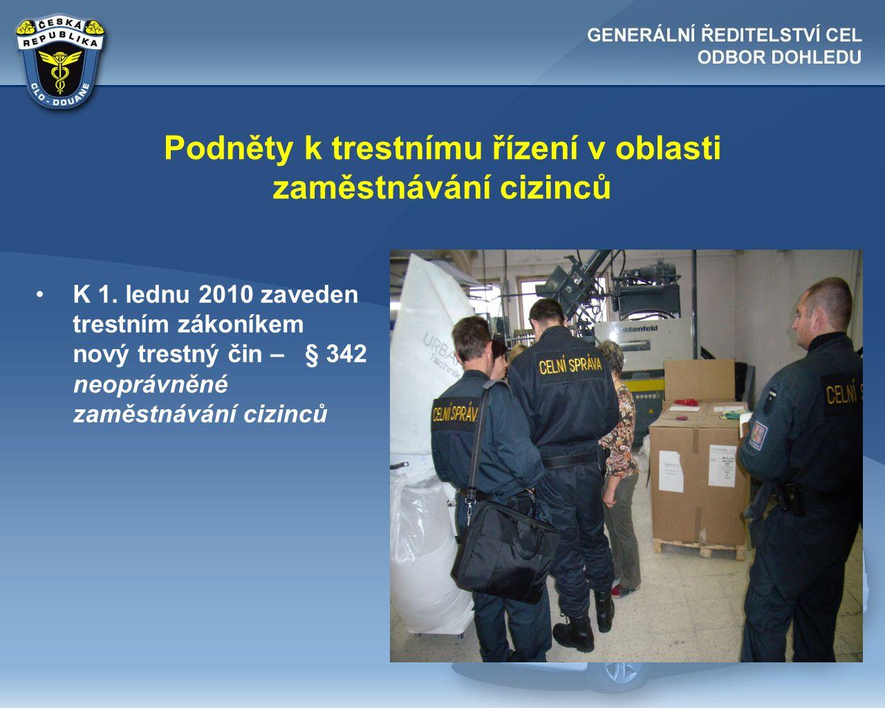Podněty k trestnímu řízení v oblasti zaměstnávání cizinců •K 1. lednu 2010 zaveden trestním zákoníkem nový trestný čin – § 342 neoprávněné zaměstnáván