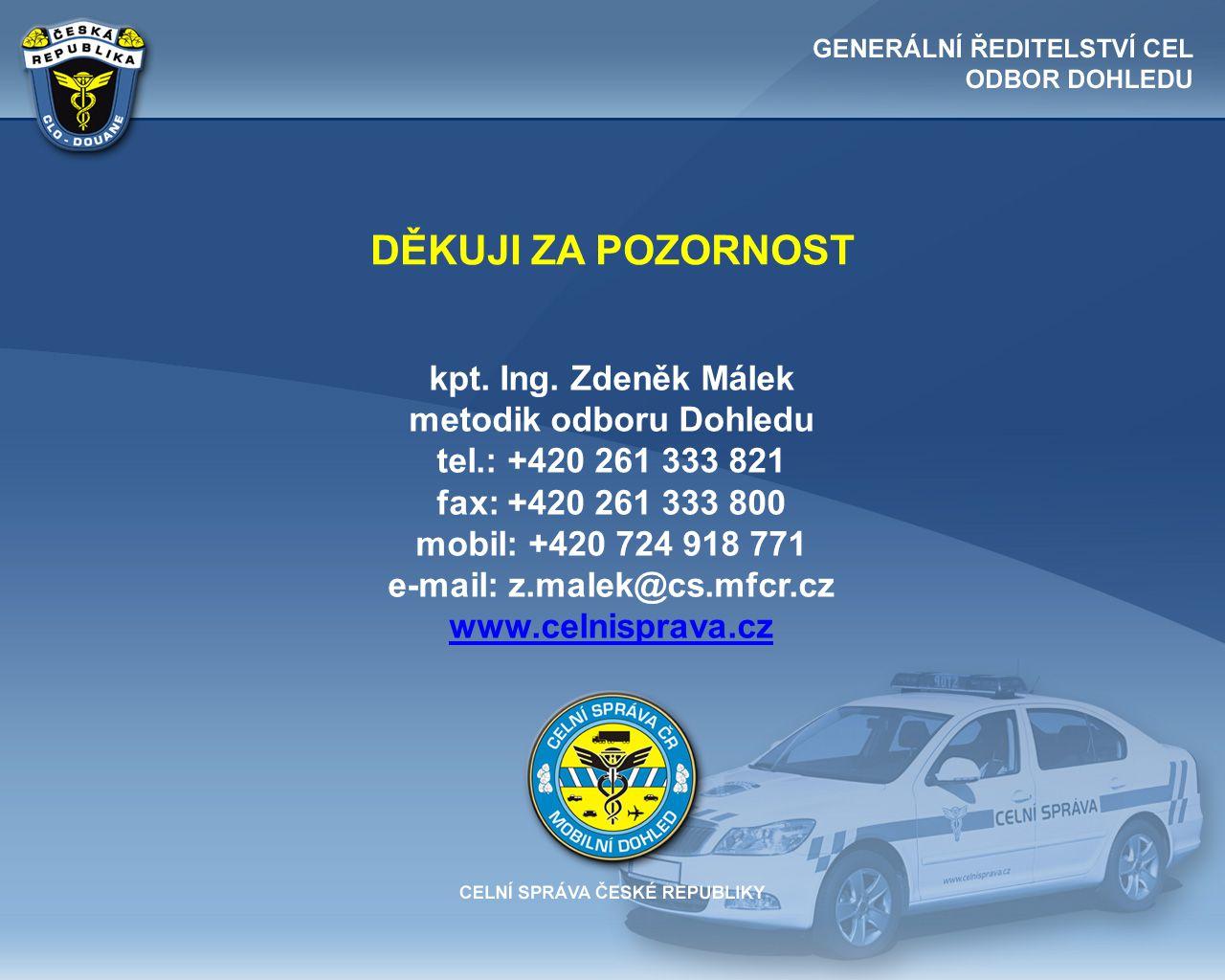 DĚKUJI ZA POZORNOST kpt. Ing. Zdeněk Málek metodik odboru Dohledu tel.: +420 261 333 821 fax: +420 261 333 800 mobil: +420 724 918 771 e-mail: z.malek