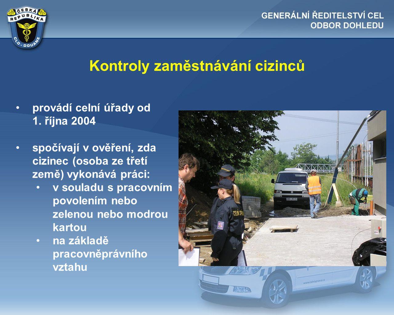 Kontroly zaměstnávání cizinců •provádí celní úřady od 1. října 2004 •spočívají v ověření, zda cizinec (osoba ze třetí země) vykonává práci: •v souladu