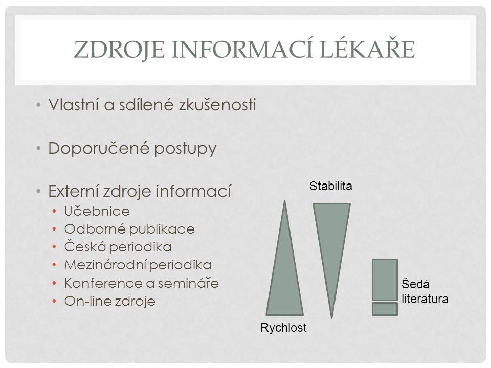 ZDROJE INFORMACÍ LÉKAŘE • Vlastní a sdílené zkušenosti • Doporučené postupy • Externí zdroje informací • Učebnice • Odborné publikace • Česká periodik