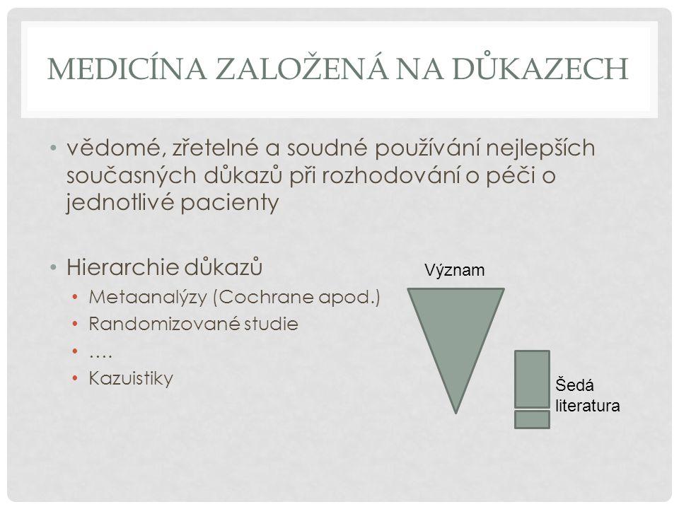 MEDICÍNA ZALOŽENÁ NA DŮKAZECH • vědomé, zřetelné a soudné používání nejlepších současných důkazů při rozhodování o péči o jednotlivé pacienty • Hierar