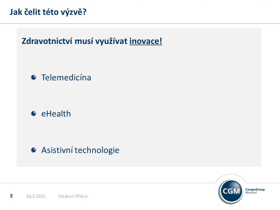 Jak čelit této výzvě? 3 Zdravotnictví musí využívat inovace! Telemedicína eHealth Asistivní technologie 24.5.2013Vladimír Přikryl