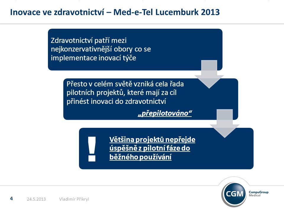 """Inovace ve zdravotnictví – Med-e-Tel Lucemburk 2013 4 24.5.2013Vladimír Přikryl Zdravotnictví patří mezi nejkonzervativnější obory co se implementace inovací týče Přesto v celém světě vzniká cela řada pilotních projektů, které mají za cíl přinést inovaci do zdravotnictví """"přepilotováno Většina projektů nepřejde úspěšně z pilotní fáze do běžného používání !"""