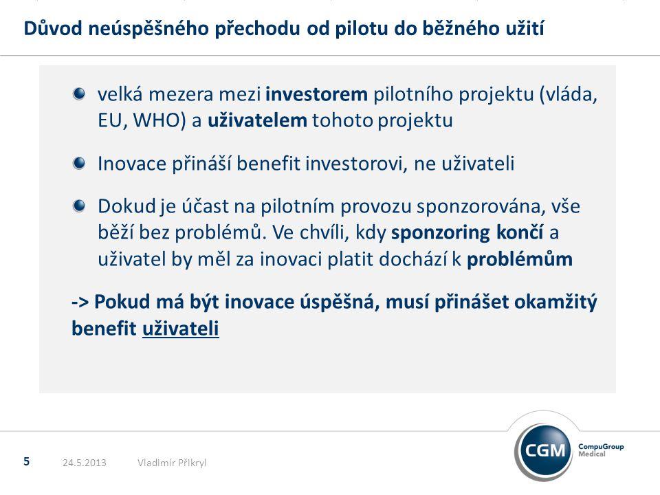 Důvod neúspěšného přechodu od pilotu do běžného užití 5 velká mezera mezi investorem pilotního projektu (vláda, EU, WHO) a uživatelem tohoto projektu Inovace přináší benefit investorovi, ne uživateli Dokud je účast na pilotním provozu sponzorována, vše běží bez problémů.